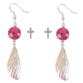 Faith in Bloom, Iridescent Butterfly Wing and Silver Cross Earring Set, Zinc Alloy, 2 Pairs