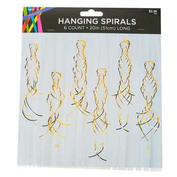 Gold Hanging Spiral Decorations, Gold, 20 Inches