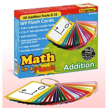 Edupress, Math in a Flash, Addition Facts 0-12, 2.5 x 4 Inches, 169 Cards
