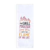P. Graham Dunn, The Grill Master Lives Here Tea Towel, Cotton, White, 16 x 28 inches
