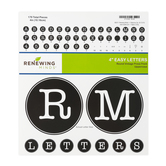 Renewing Minds, Round Vintage Press Bulletin Board Letters, Uppercase, 4 Inches, Black and White, 179 Pieces