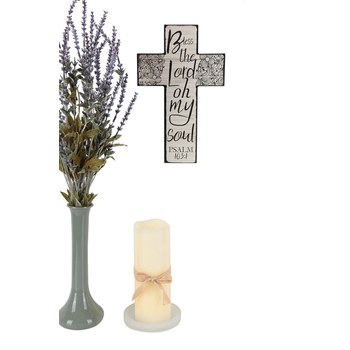 Bless the Lord Psalm 103:1 Wall Cross, MDF Wood, White with Black, 7 x 11 x 3/8 inches