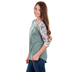 Southern Grace, On A Wing And A Prayer, Women's 3/4 Sleeve Raglan T-shirt, Jade and Floral, Small