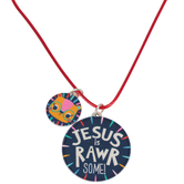 Glitter and Grace, Jesus is Rawrsome Cord Necklace, Blue/Orange/Silver, 16 inch Cord