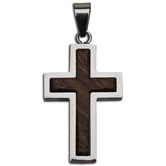 H.J. Sherman, Sterling Silver Cross Charm with Wood Inlay, Pendant Necklace, Stainless Steel Chain, 24 inches