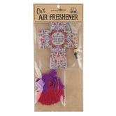 Natural Life, Trust In The Lord Cross Air Freshener, Rose Musk Scent, Pressed Paper, 3 1/2 Inches, Set of 2