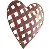 Red Galvanized Metal Heart Wall Decor, 13 x 14 1/2 x 1 1/4 inches