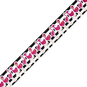 Schoolgirl Style, Simply Stylish Tropical Flamingos Straight Borders, Trimmer, 36 Feet