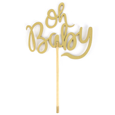 Brother Sister Design Studio, Oh Baby Cake Topper, Plywood, Metallic Gold, 9 1/2 x 5 3/4 inches