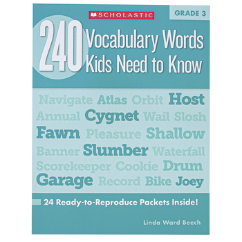 Scholastic, 240 Vocabulary Words Kids Need To Know Workbook, Reproducible Paperback, 80 Pages, Grade 3