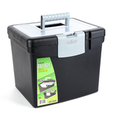 Storex, Portable File Box with Lid Compartment, Black, 11 x 13 1/2 x 11 inches