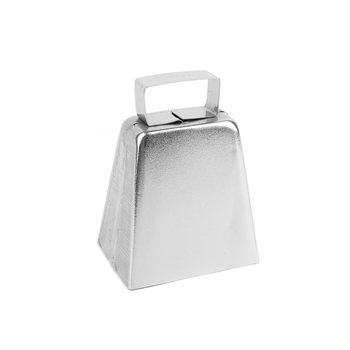 Tree House Studio, Metal Cow Bell, 4 Inches, Silver, 1 Piece