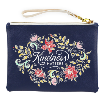 Christian Art Gifts, Kindness Matters Zippered Pouch, Faux Leather, Navy Blue, 9 1/4 x 7 inches