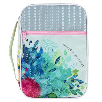 Faithworks, Everyday Grateful Floral Bible Cover, Canvas, Medium