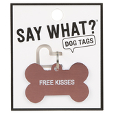 About Face Designs, Say What, Free Kisses Dog Tag, Acrylic, Pink, 1 1/2 x 1 inches