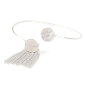 His Truly, Disk with Tassel Bangle Bracelet, Zinc Alloy, Satin Silver