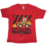 Kerusso, Matthew 17:20 Faith Can Move Mountains, Kid's Short Sleeve T-shirt, Red, Youth Small