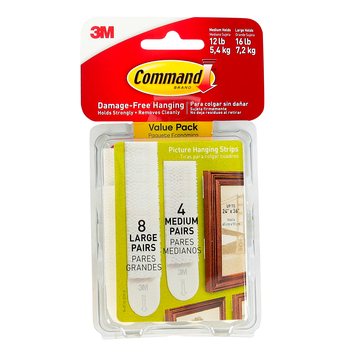 Command, Medium and Large Picture Hanging Strips, Value Pack, White, 12 Pairs
