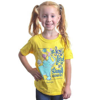 Cherished Girl, Nehemiah 8:10 Joy of the Lord, Kid's Short Sleeve T-shirt, Daisy Yellow, 3T-Youth Large