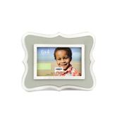 Green Tree Gallery, Small Quatrefoil Photo Frame, Gray, MDF, for 6 x 4 inch picture