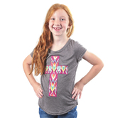 Southern Grace, Embroidered Aztec Cross, Kid's Short Sleeve T-shirt, Charcoal Gray, Ages 2-12