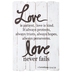 Studio His & Hers, 1 Corinthians 13:4, 7-8 Love Is Patient Wall Decor, MDF, White, 23 5/8 x 15 3/4 x 3/4 inches