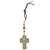 Natural Life, Artisan Cross Car Charm, Terra Cotta and Beads, 4 1/2 inches