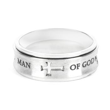Spirit & Truth, 1 Timothy 6:11, Man of God, Men's Spinner Ring, Stainless Steel, Silver, Sizes 8-12