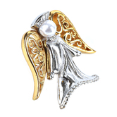 H.J. Sherman, Angels Will Watch Over You Lapel Pin, Gold and Silver Plated, 1 x 1 inches