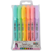 Marvy Uchida, Pastel Liner Pen Set, Large Tip, 1 Each of 6 Colors