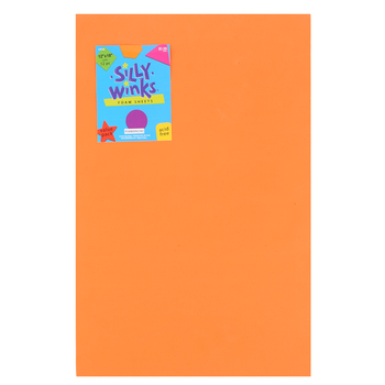 Silly Winks, Primary Foam Sheet Pack, 12 x 18 inches, Assorted Colors, 12 count