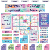 Retro Chic Collection, Customizable Calendar Bulletin Board Set, Multi-Colored, 107 Pieces