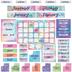 Retro Chic Collection, Customizable Calendar Bulletin Board Set, Multi-Colored, 107 Pieces
