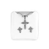 H.J. Sherman, Cross With CZ Stones, Pendant and Stud Earring Set, Silver Plated