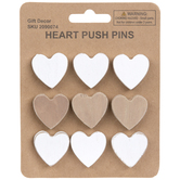 Heart Push Pins, Wood, 1 x 1 Inches, Pack of 9