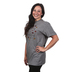 Kerusso, Colossians 2:7 Overflowing With Thankfulness, Women's Short Sleeve T-shirt, Graphite Heather, Small