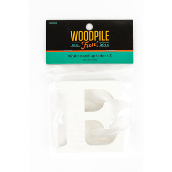 Woodpile Fun, Stand Alone Wood Letter - E, 3 inches, White