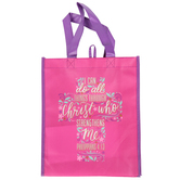 Renewing Faith, Philippians 4:13 Floral Cross Tote Bag, Bright Pink and Purple, 12 x 10 x 4 inches