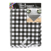 Brother Sister Design Studio, Buffalo Check Table Runner, Black & White, 88 x 18 inches