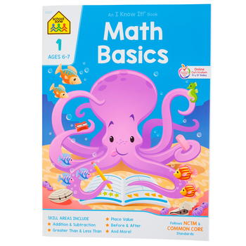 School Zone, Math Basics 1 Deluxe Edition Workbook, Paperback, 64 Pages, Grade 1