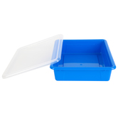 Storex, Letter Size Storage Tray With Clear Lid, Blue, Plastic, 13 x 10.5 x 3 Inches, 2 Pieces