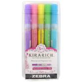 Zebra, Kirarich Glitter Highlighters, 1 Each of 5 Colors