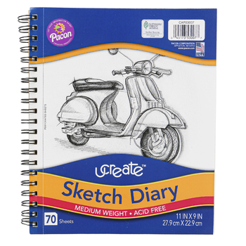 Carolina Pad, U Create Sketch Diary, 11 x 9 Inches, 70 Sheets