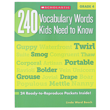 Scholastic, 240 Vocabulary Words Kids Need To Know Workbook, Reproducible Paperback, 80 Pages, Grade 4