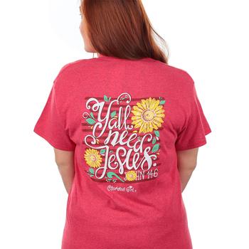 Cherished Girl, John 14:6 Y'all Need Jesus, Short Sleeve T-Shirt, Red Heather, S-3XL