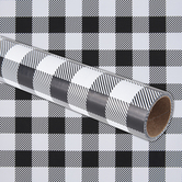 Brother Sister Design Studio, Buffalo Check Plaid Gift Wrap Roll, Black & White, 50 Square Feet