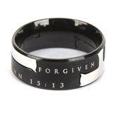 Spirit & Truth, John 15:13, Forgiven by God Black Iron Cross, Men's Ring, Stainless Steel, Sizes 8-12