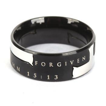 Spirit & Truth, John 15:13, Forgiven by God Black Iron Cross, Men's Ring, Stainless Steel, Sizes 8-12