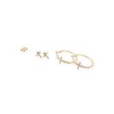 Bella Grace, Cross Earring Set, Gold Toned, Zinc Alloy