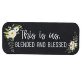 This Is Us Blended and Blessed Metal Wall Decor, Black with White Floral, 12 x 5 x 1/4 inches